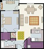 Floor plan of one-bedroom condo