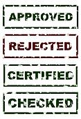 Stamps of Approved Rejected Checked