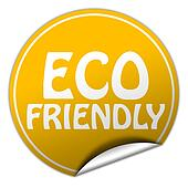ECO FRIENDLY round yellow sticker on white background