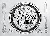 Menu restaurant lettering coal