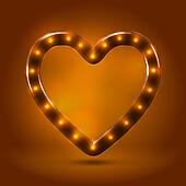 Glossy stylish backlit heart outline with bulbs over warm caramel candy background. Autumn decorative concept
