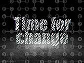 Time concept: Time for Change in grunge dark room