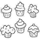 hand drawn cupcake set