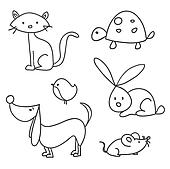 Hand drawn cartoon pets