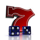 Lucky number seven with dice