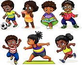 African children engaging in different activities