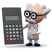 3d Scientist with calculator