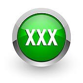 xxx green glossy web icon