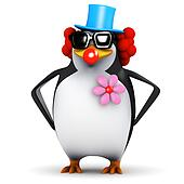 3d Penguin clown