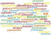 Southwest multilanguage wordcloud background concept