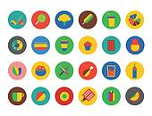 Food Icons set. Fruit, kitchen, food and drinks