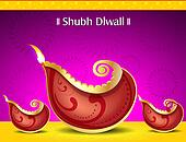 happy diwali deepak background with floral