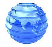 3d glassy Earth Globe focused in Asia