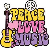 Peace Love Music in Bright Colors