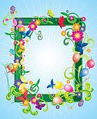 green vector frame with butterflies