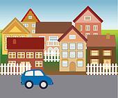 Suburban homes in quiet neighborhood