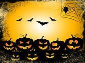 Pumpkin Bats Represents Trick Or Treat And Celebration