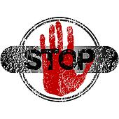 Stamp with red hand and stop sign