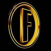 Gold Black Font Letter f