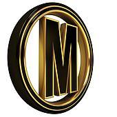 Gold Black Font Letter m