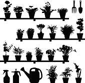 Flower Plant Pot Silhouette