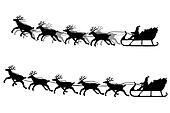 Santa Claus & his sleigh silhouette