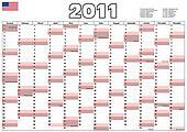 2011 Calendar with USA official holidays