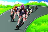 Group of cyclists racing