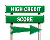 High credit score green road sign