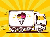 illustration of truck free and fast delivering ice cream