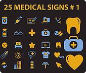25 medical signs, vector