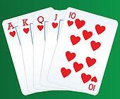 Royal flush poker cards