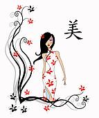 Chinese Girl With Calligraphy Character For Beauty