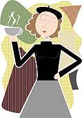 Beatnik woman holding coffee cup ab