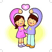 Husband and Wife Mascot love gesture. Home and Family Character