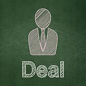 Finance concept: Business Man and Deal on chalkboard background