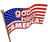 God Bless America USA Flag United States Religion Motto