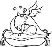 Coloring book: Cute little dragon sleeping on the pillow