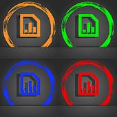 Growth and development concept. graph of Rate icon symbol. Fashionable modern style. In the orange, green, blue, green design.