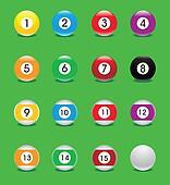 glossy pool balls