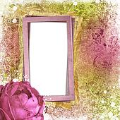Vintage pink and green background with roses and  paper frame