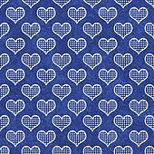 Blue and White Polka Dot Hearts Pattern Repeat Background