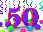 Number Fifty Party Meaning Colourful Birthday Party Or Decorated Celebration