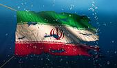 Iran Under Water Sea Flag National Torn Bubble 3D