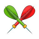 Darts icon, cartoon style