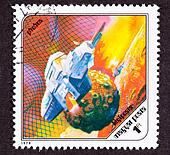Canceled Hungarian airmail postage stamp space ship around Phobos the Martian moon