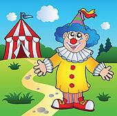Cartoon clown with circus tent