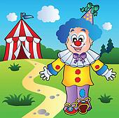 Smiling clown with circus tent