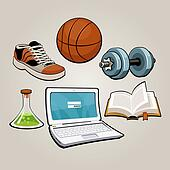 Sports and educational student set