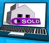 Sold House Laptop Shows Successful Offer Or Auction